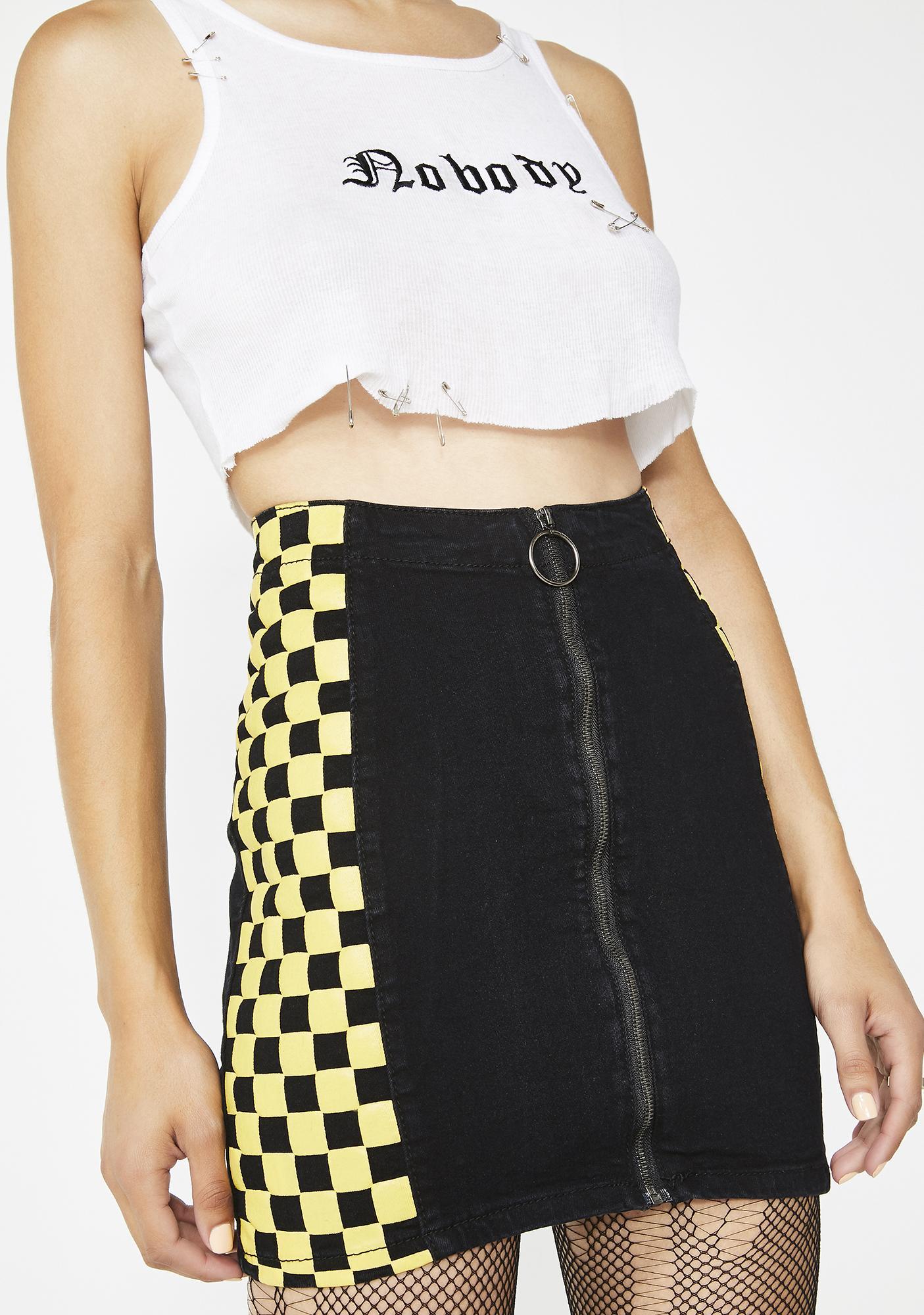 On The Run Checkered Skirt