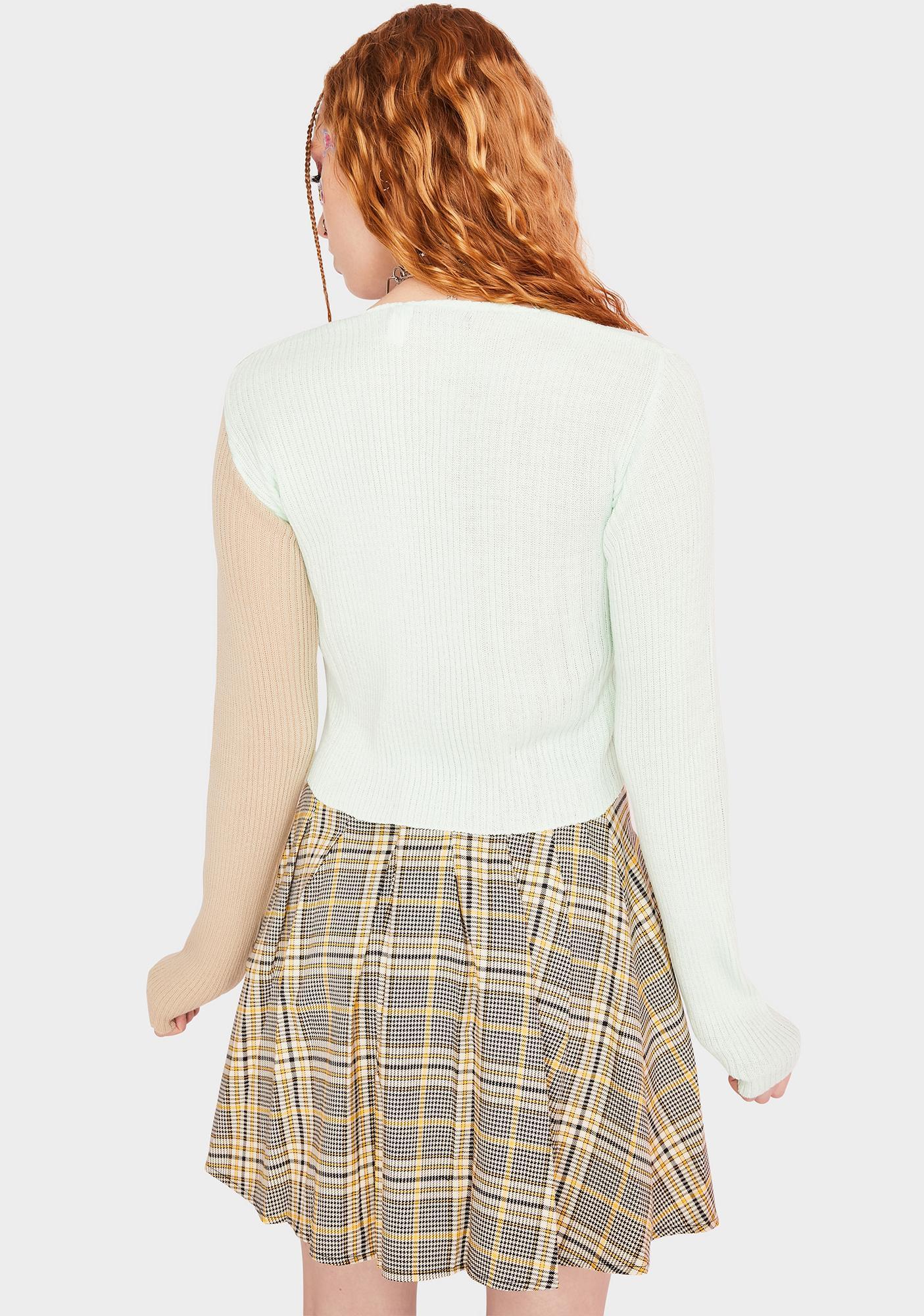 Daisy Street 90's Split Color Cropped Cardigan