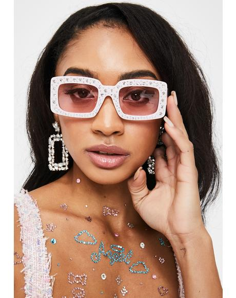 Pink Disco Fox Rhinestone Sunglasses