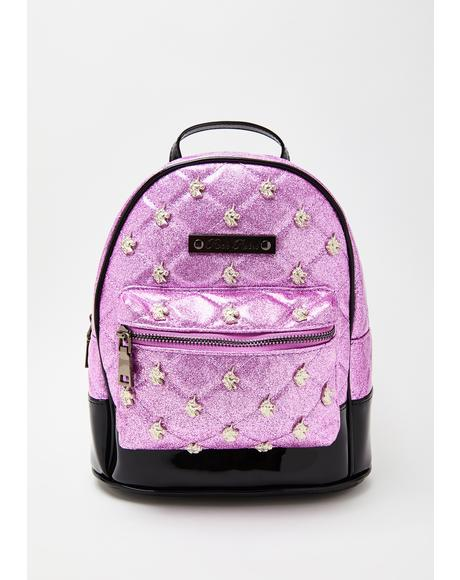 Pink Glitter Unicorn Quilted & Studded Mini Backpack