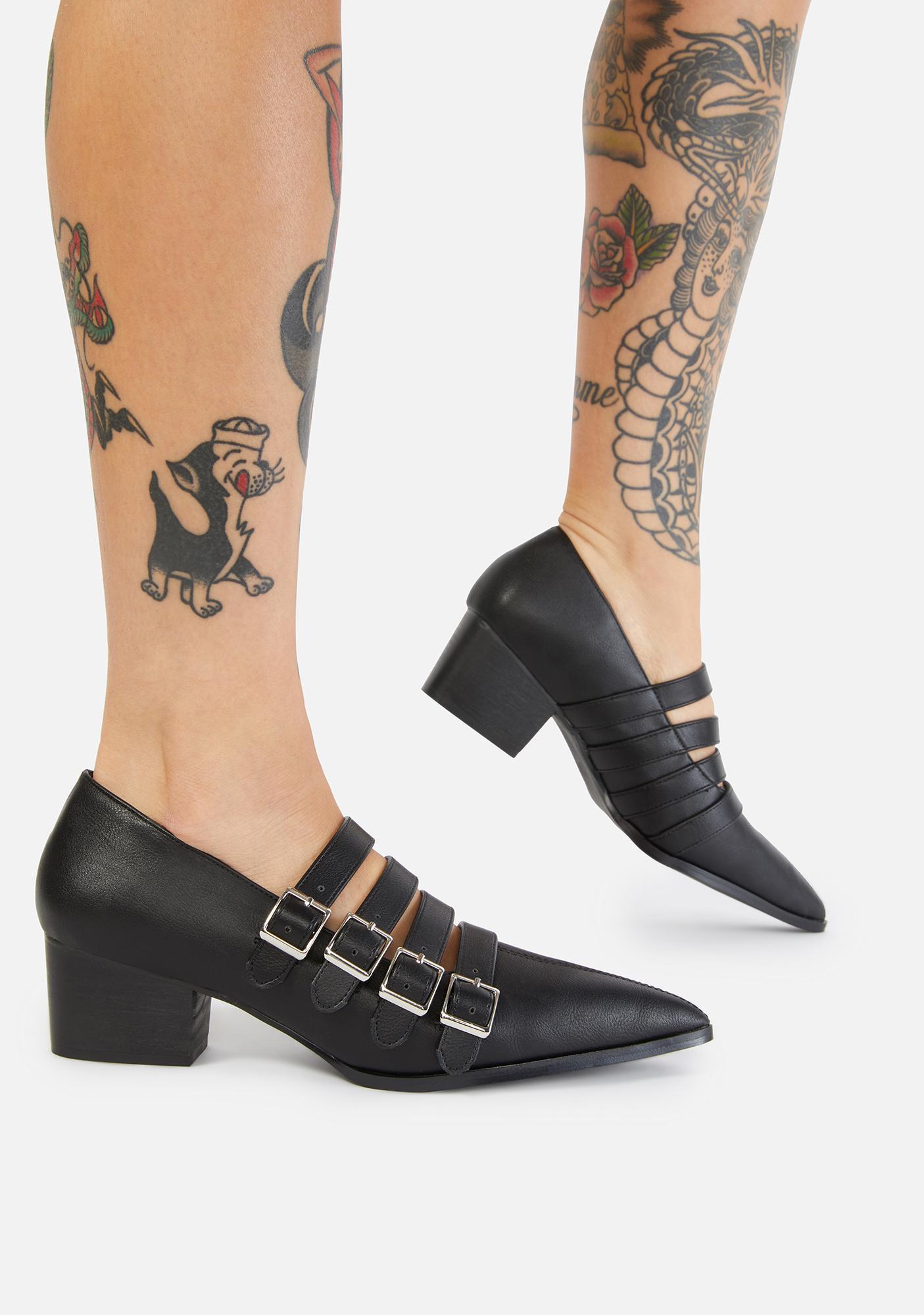 Strange Cvlt Black Coven Block Heels