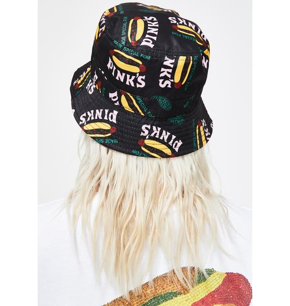 Petals and Peacocks X Pink's Hot Dogs Made Special Black Bucket Hat