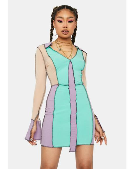 Mint Game Of Love Colorblock Panel Mini Dress