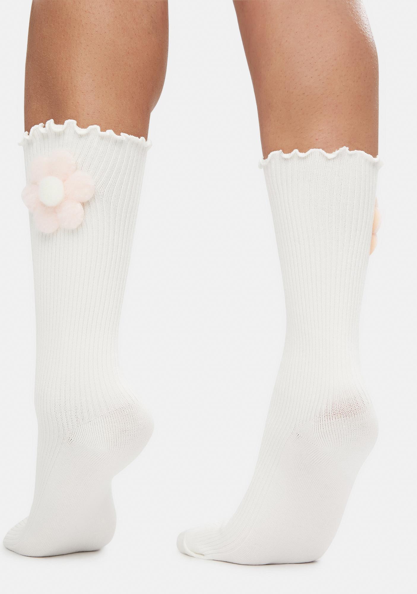 Sweet Power Of The Petal Plush Flower Crew Socks