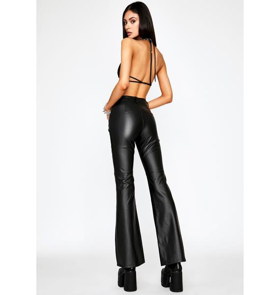 Impure Faux Leather Flare Pants