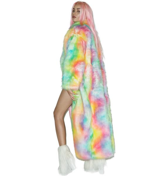 J Valentine Rainbow Flashing Lights Long Coat