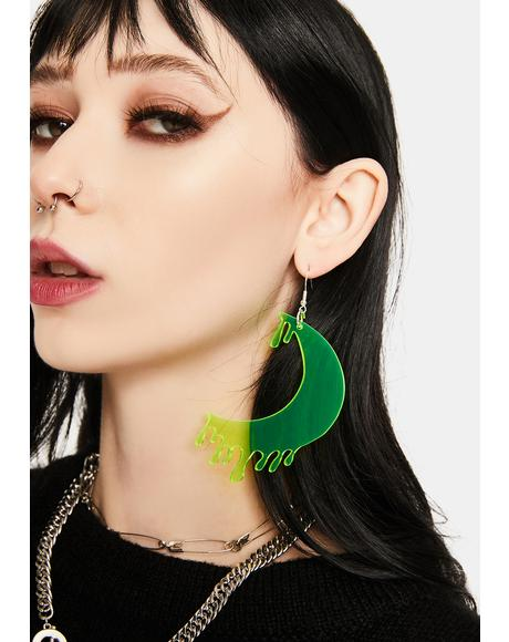 Green Drippy Moon Face Earrings