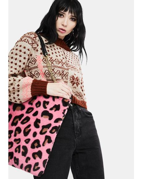 Pink Leopard Fluffy Bag