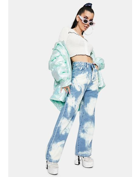 Tie Dye High Waist Denim Jeans