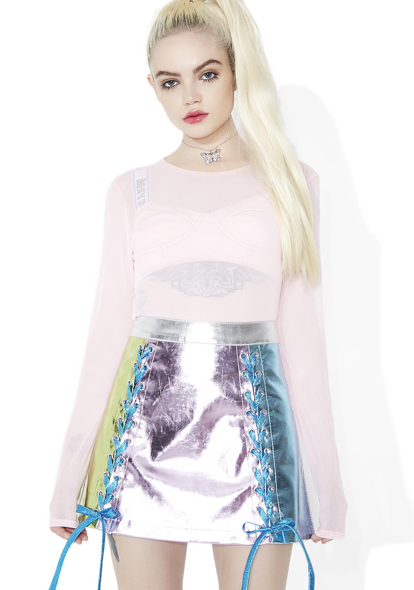 Sugar Thrillz Ballroom Blitz Metallic Lace-Up Skirt