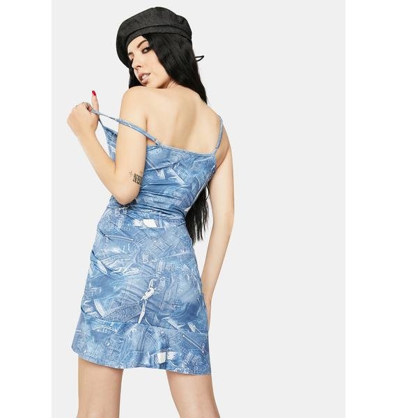 ZEMETA Denim Print Dress