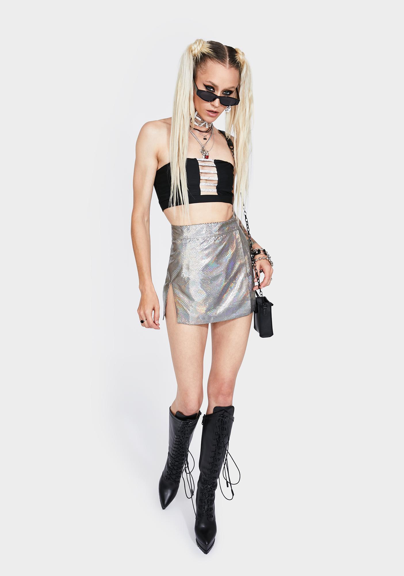 Sicko Cartel Wrap Slit Skirt