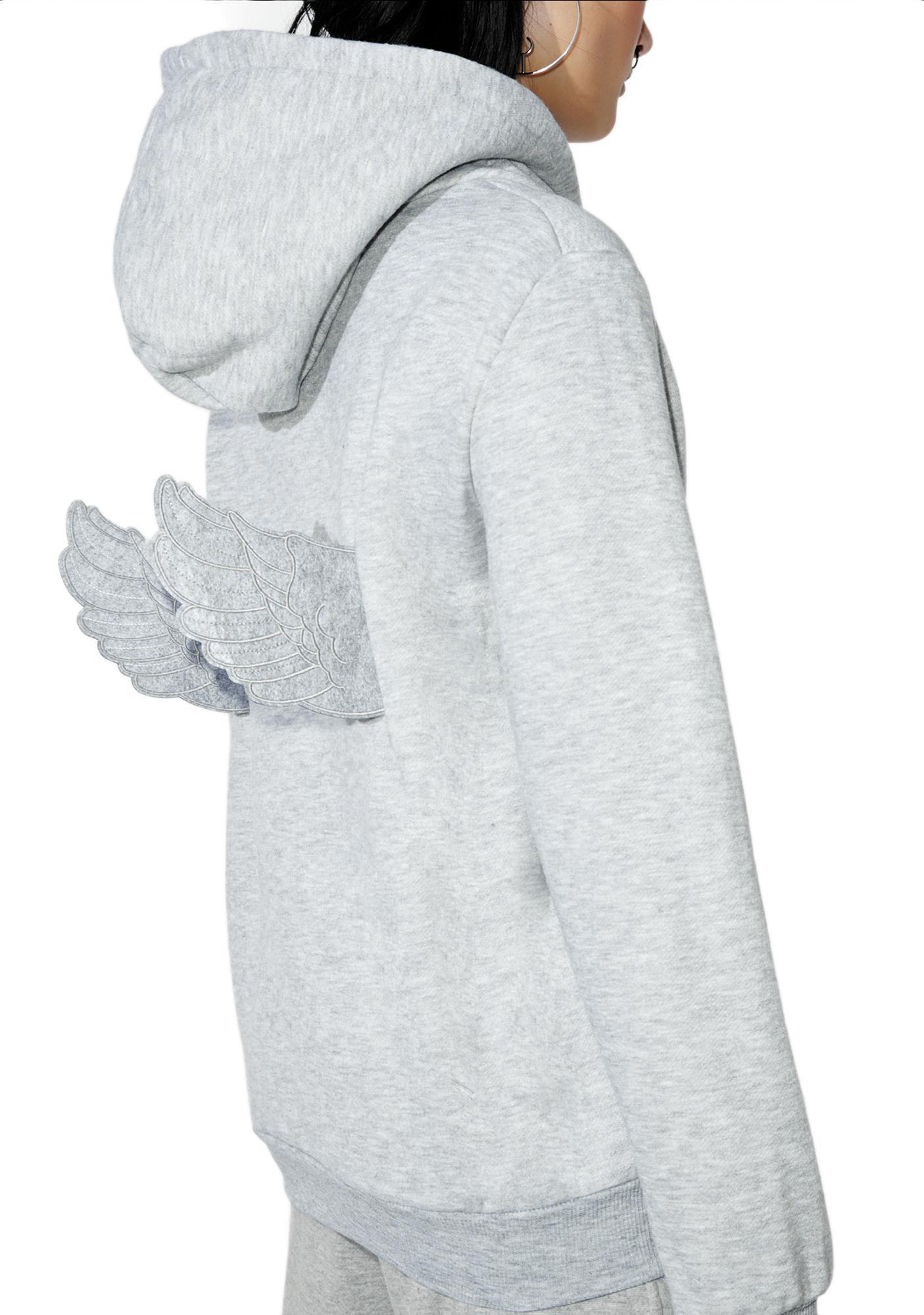 Grey Angel Wings Hoodie
