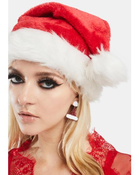 Santa's Helper Hat Drop Earrings