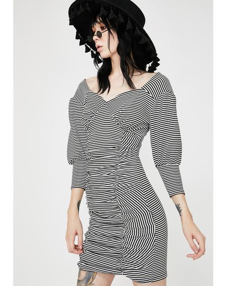 Ruched Puff Sleeve Mini Dress