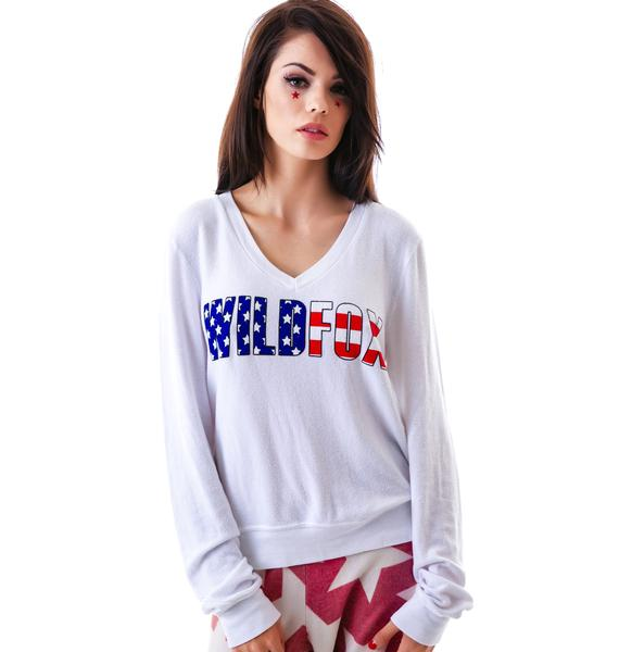 Wildfox Couture American Fox V-Neck Baggy Beach Jumper