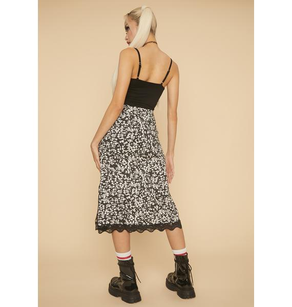 HOROSCOPEZ Carefree Spirit Floral Midi Skirt
