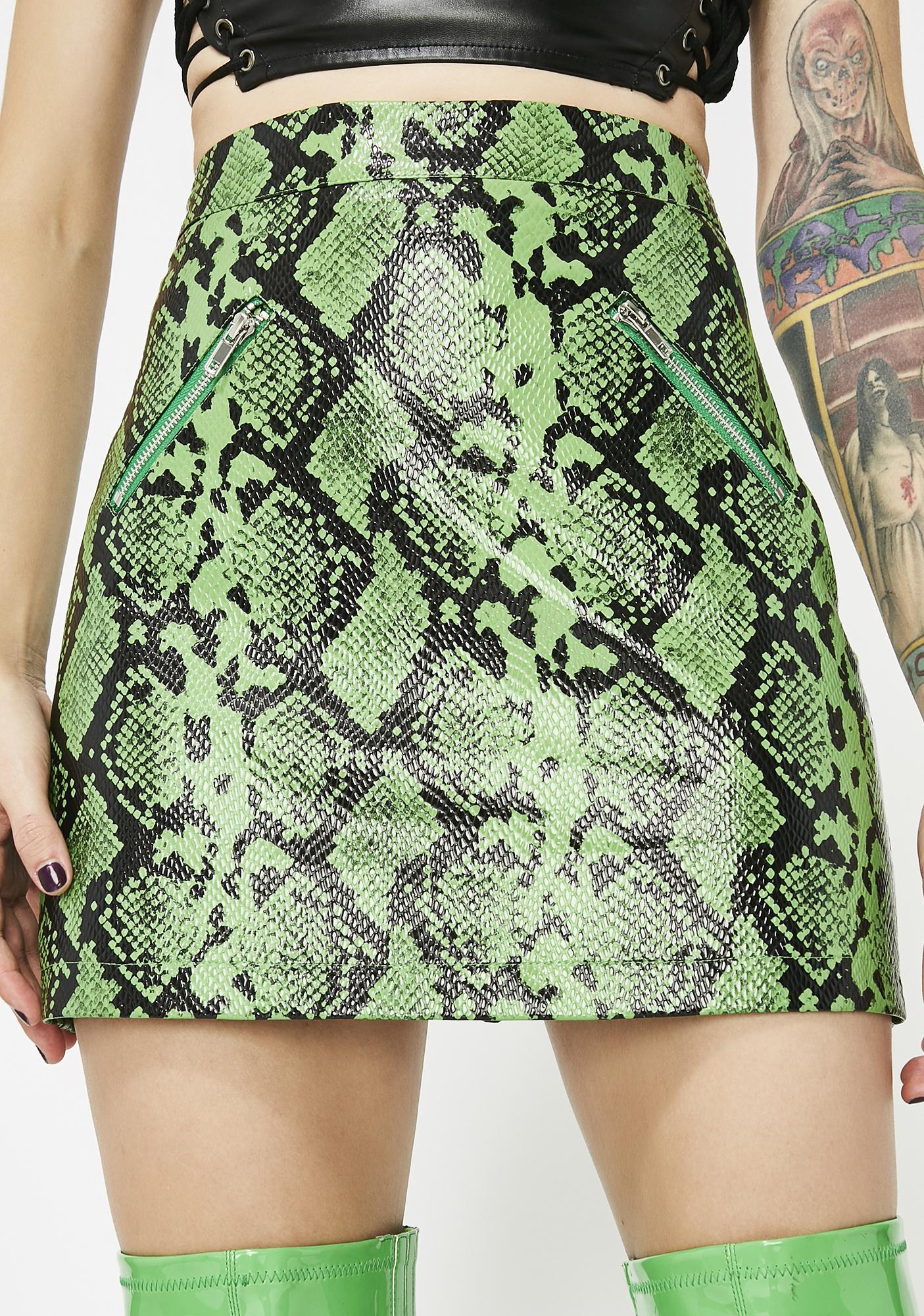 Green Vegan Leather Snakeskin Mini Skirt  00276414e