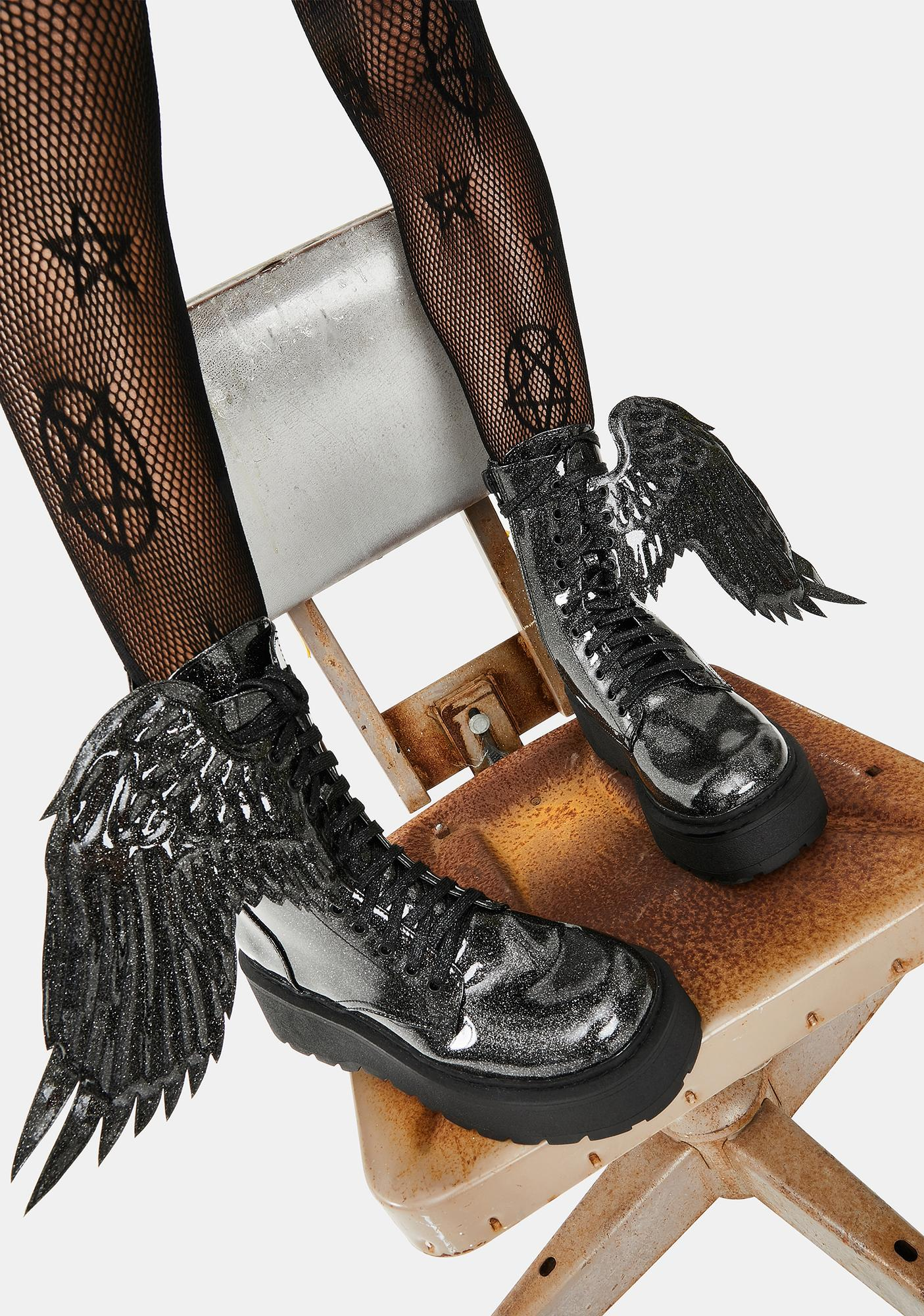 Dolls Kill Angel Of Darkness Winged Boots