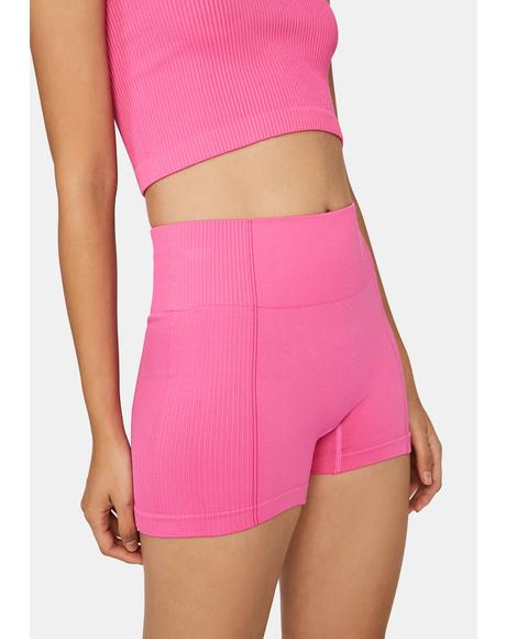 Fuchsia No Competition Biker Shorts