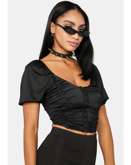 Waiting For U Boo Puff Sleeve Crop Top