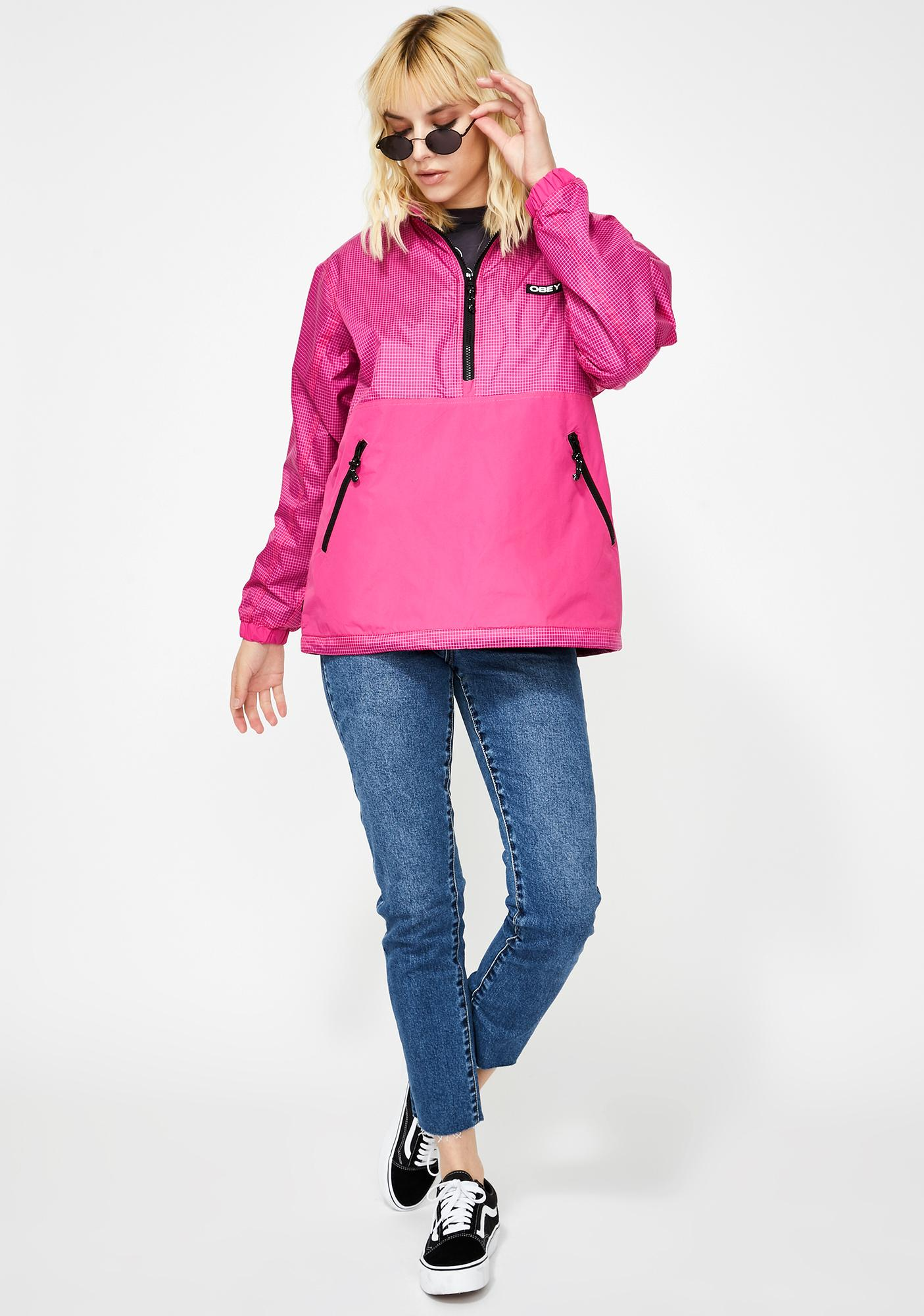 Obey Pink Nore Pop Over Anorak