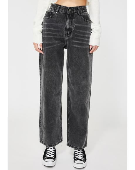 Dark High-Waisted Mom Jeans