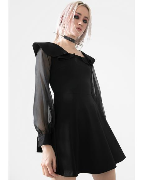 Black Sheer Sleeve Mini Dress