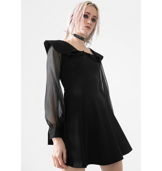 Punk Rave Black Sheer Sleeve Mini Dress