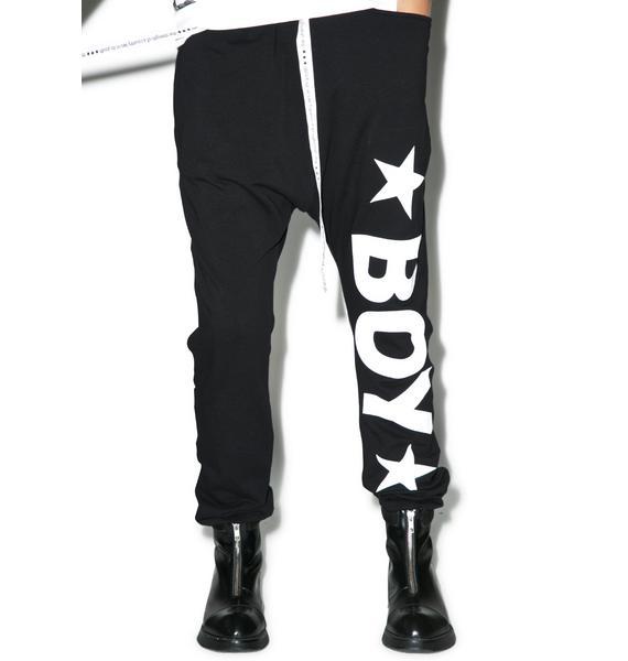 BOY London Boy Star Drop Crotch Joggers