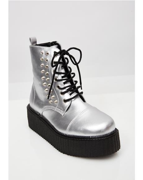 Metallic Vegan Leather V-Creeper