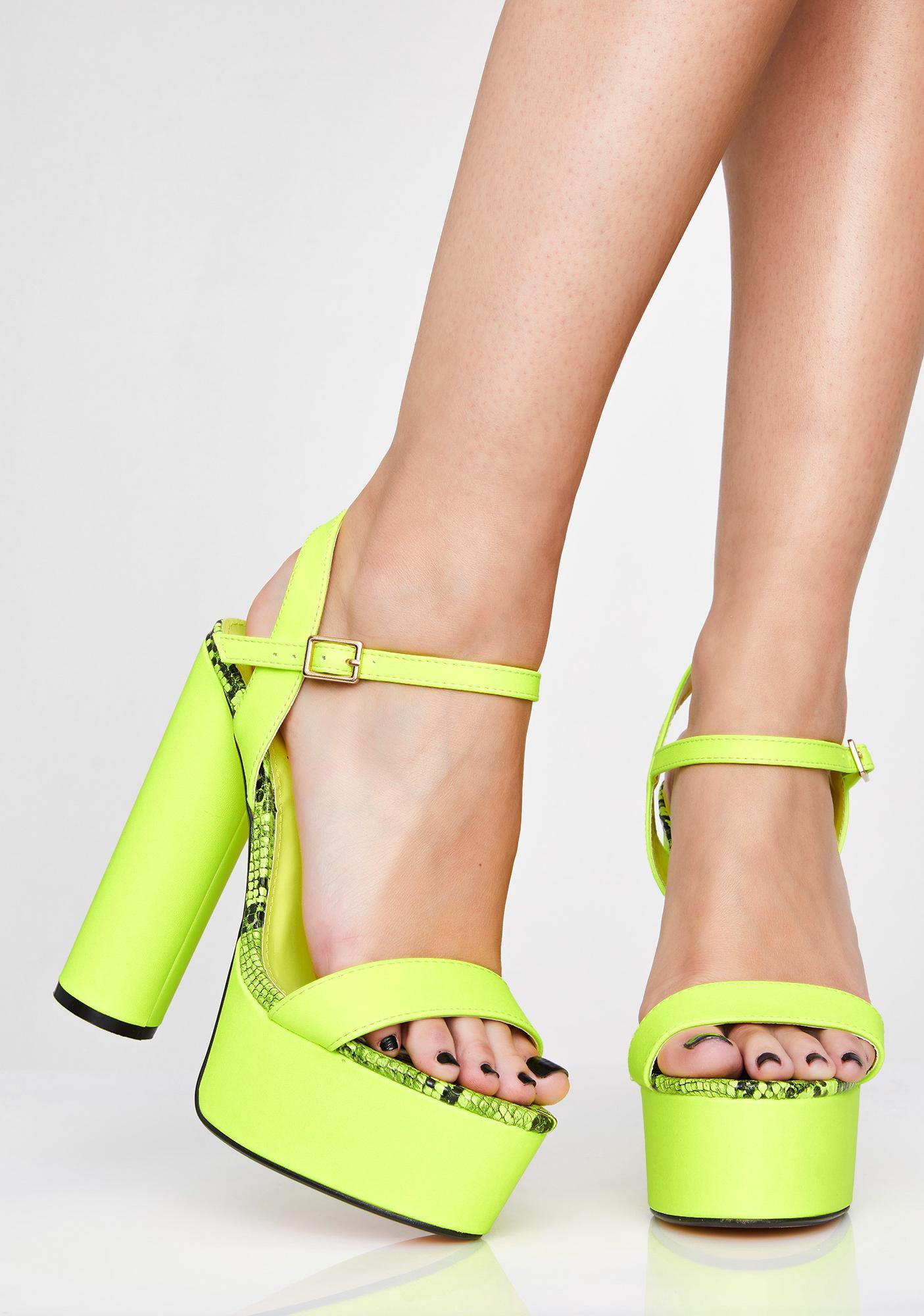 6dd64bd8f002 Neon Yellow Snakeskin Trim Platform Heels | Dolls Kill