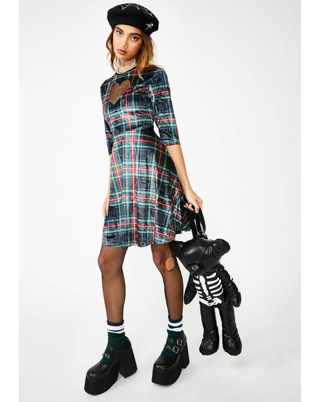 Velvet Tartan Cut Out Mini Dress