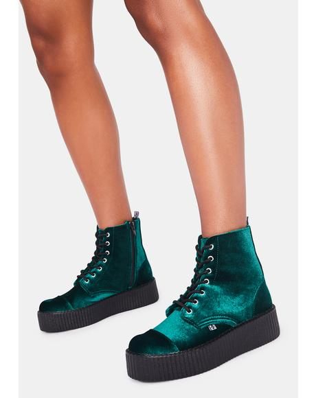 Green Velvet 7-Eye Viva Mondo Boot