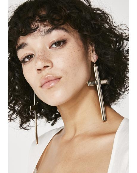 Praise Me Cross Earrings
