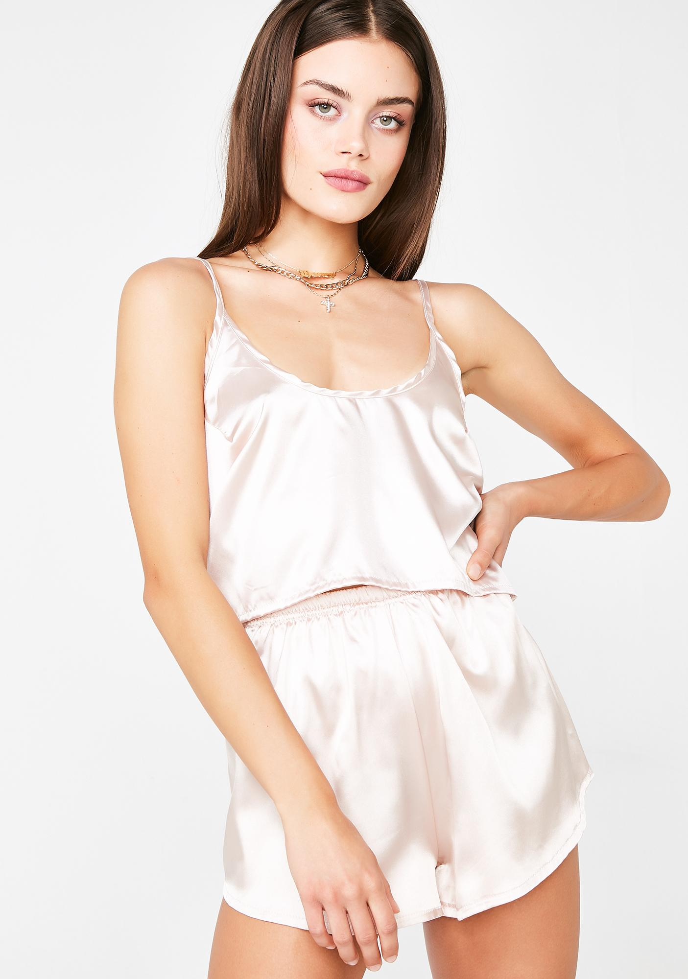 My Mum Made It Satin Crop Camisole N' Shorts Twin Set