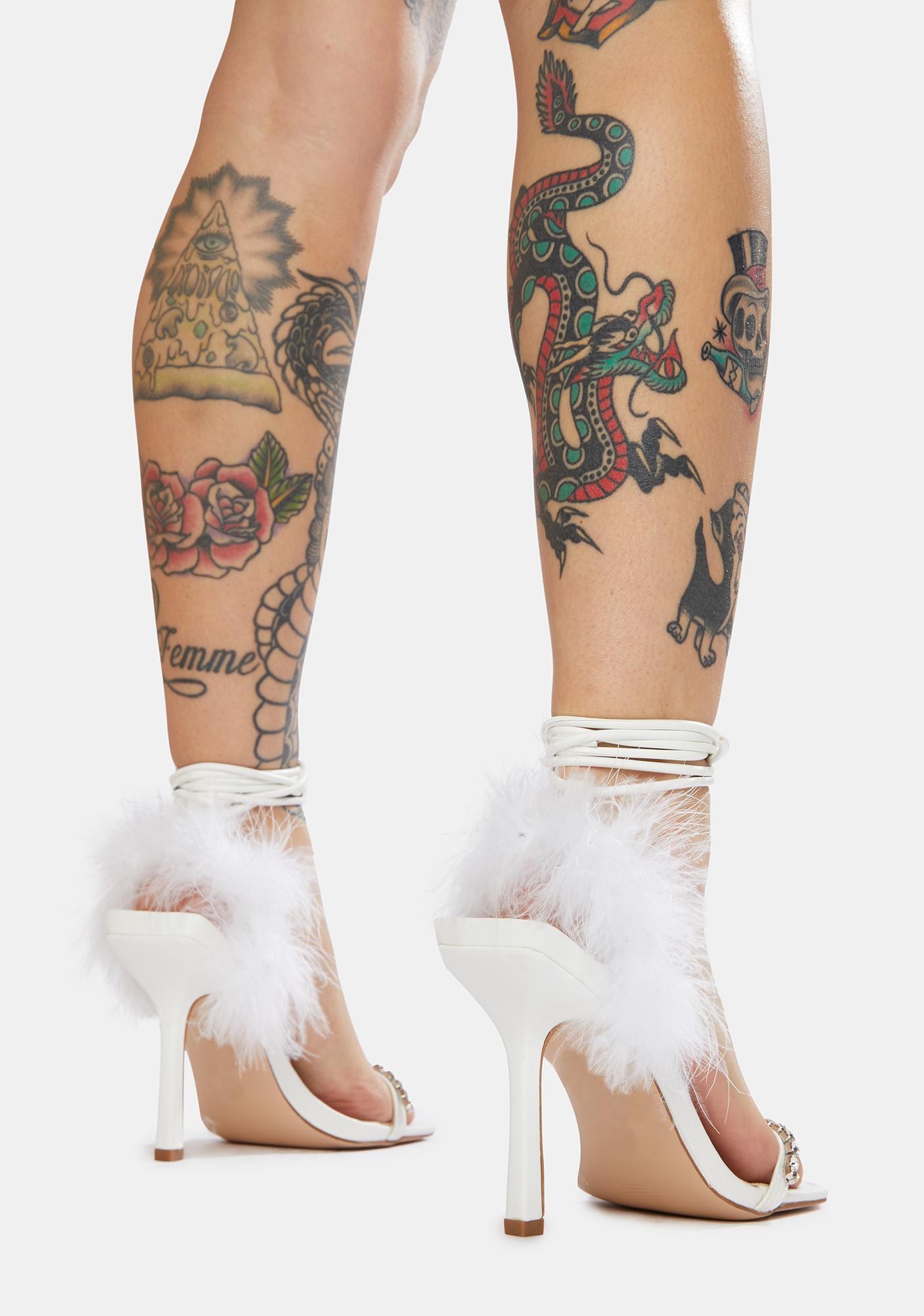 Public Desire White Fifi Feather Wrap Square Toe Stiletto Heels