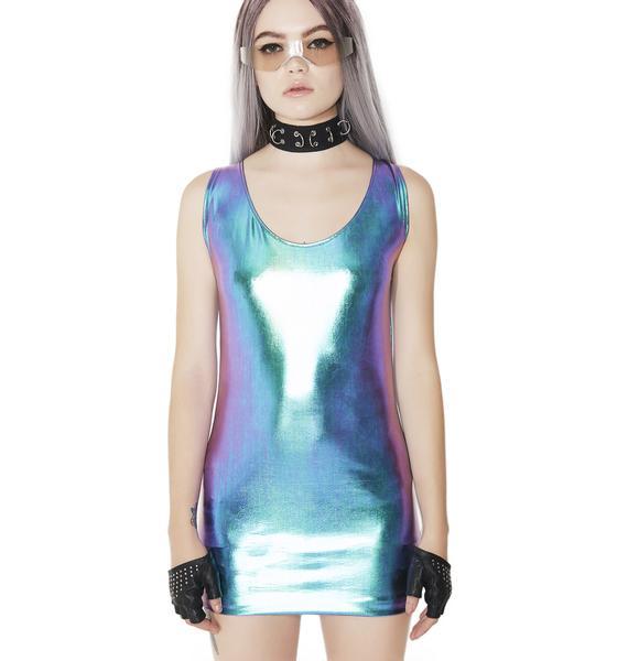 Cosmic Unicornz Holographic Bodycon Dress