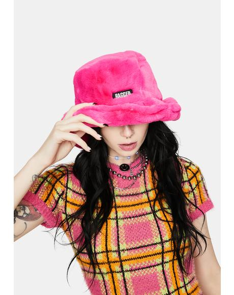Pink Candid Faux Fur Bucket Hat