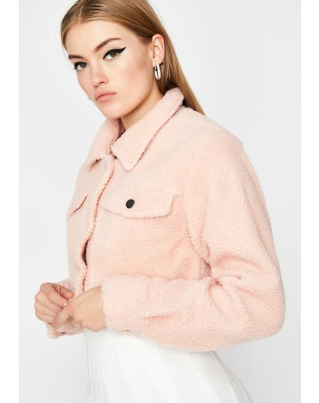 Blush Covered In Clouds Sherpa Jacket
