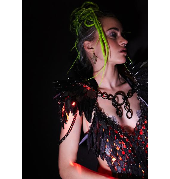Electric Candy Couture Black And Red Light-Up Shoulder Piece