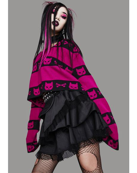 Magenta Super Creep Striped Sweater