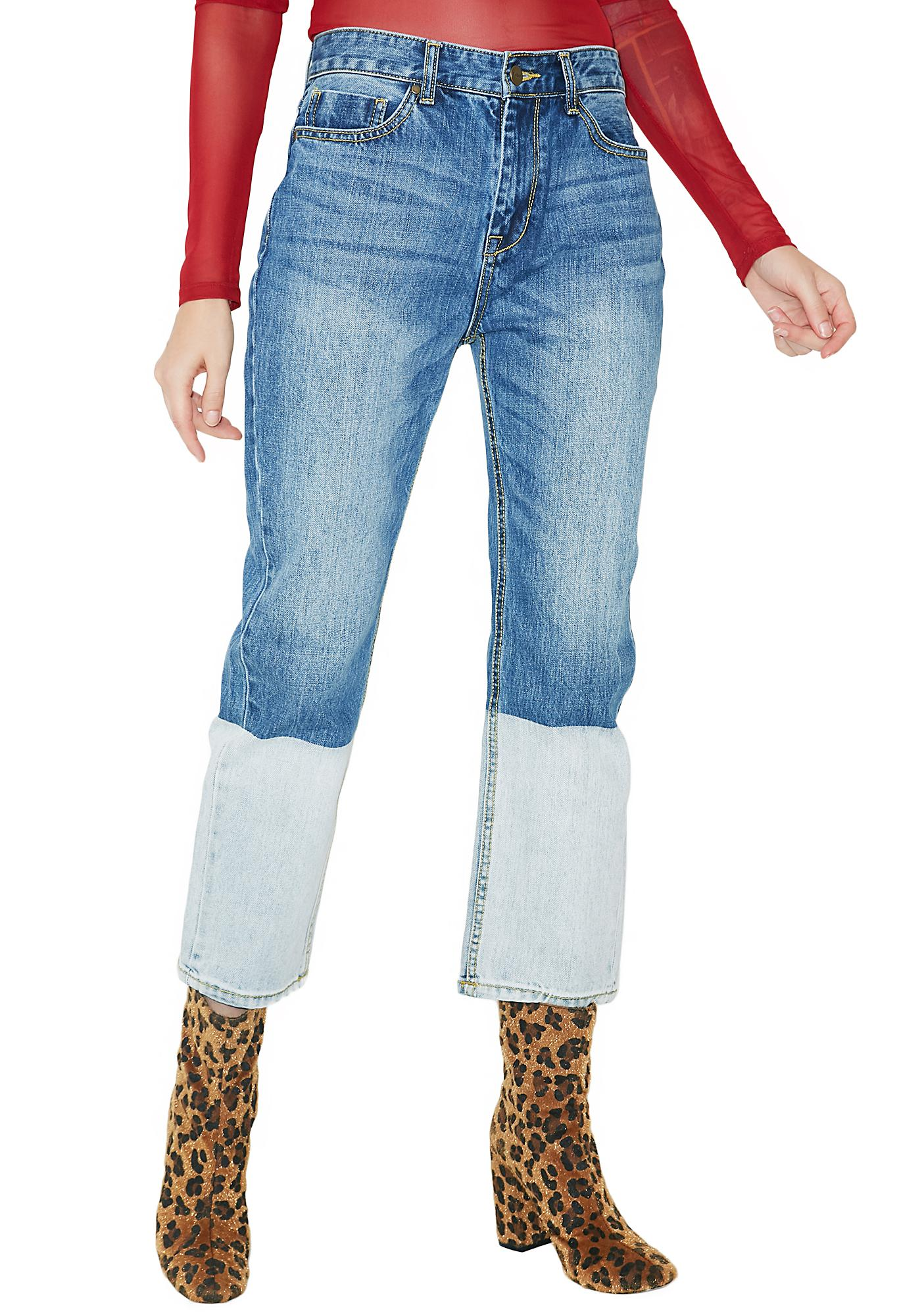 EVIDNT Two Tone Crop Jeans