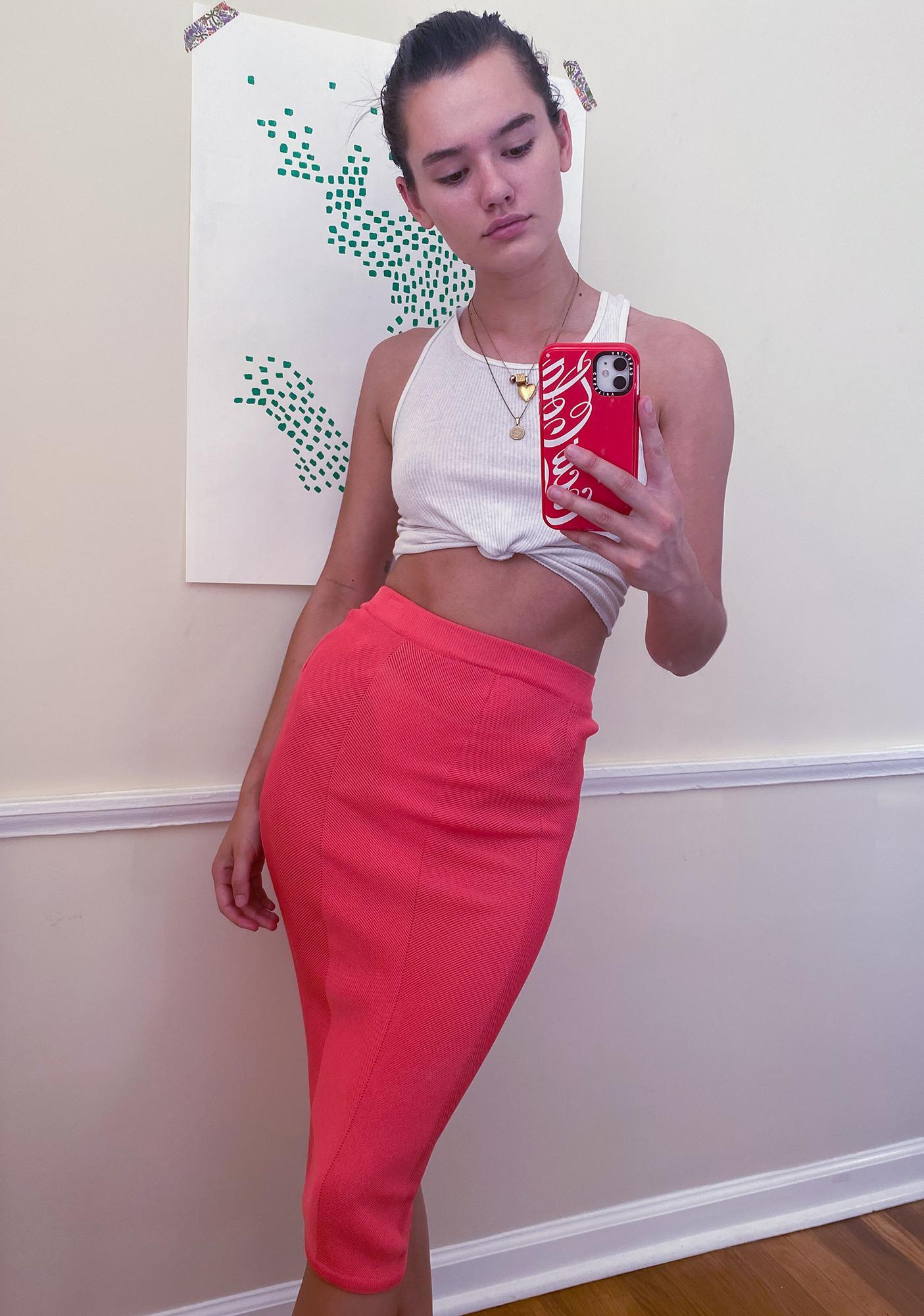 Mink Pink Chevron Knit Midi Skirt