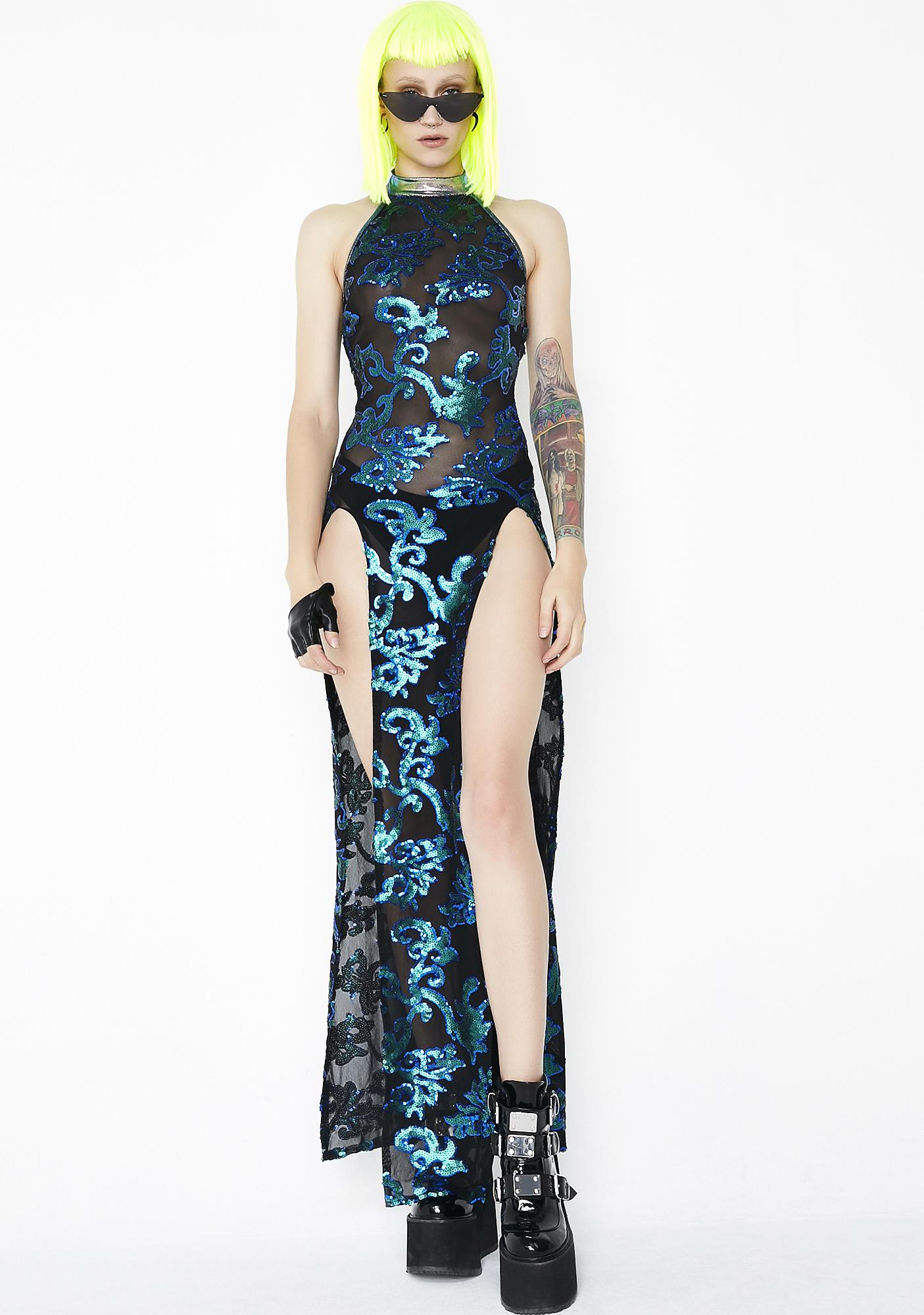 J Valentine Sequin Mesh Gown | Dolls Kill