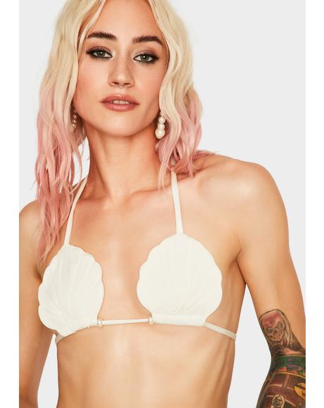 Cream Seashell Bikini Top