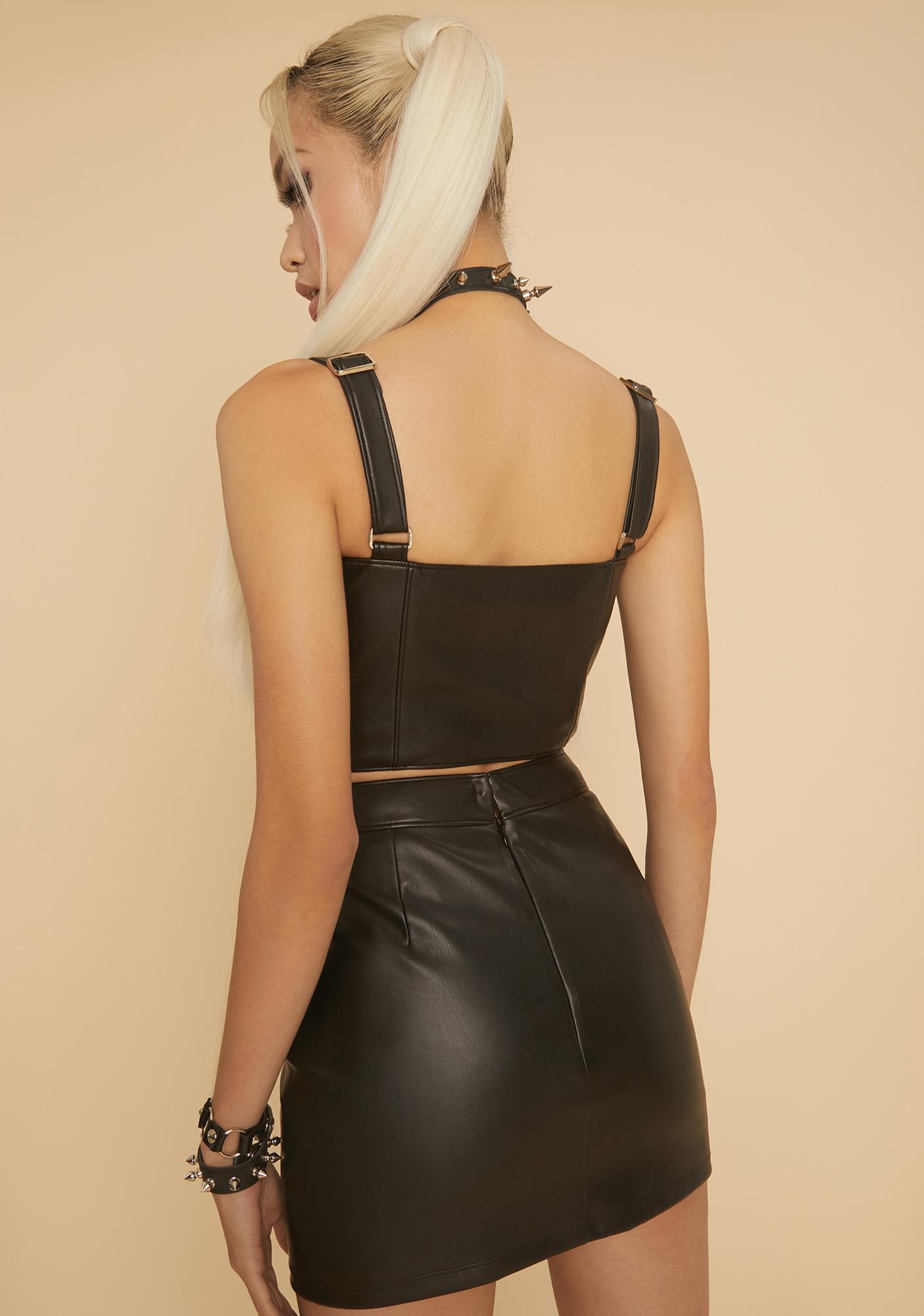HOROSCOPEZ Blissful Baddie Faux Leather Mini Skirt