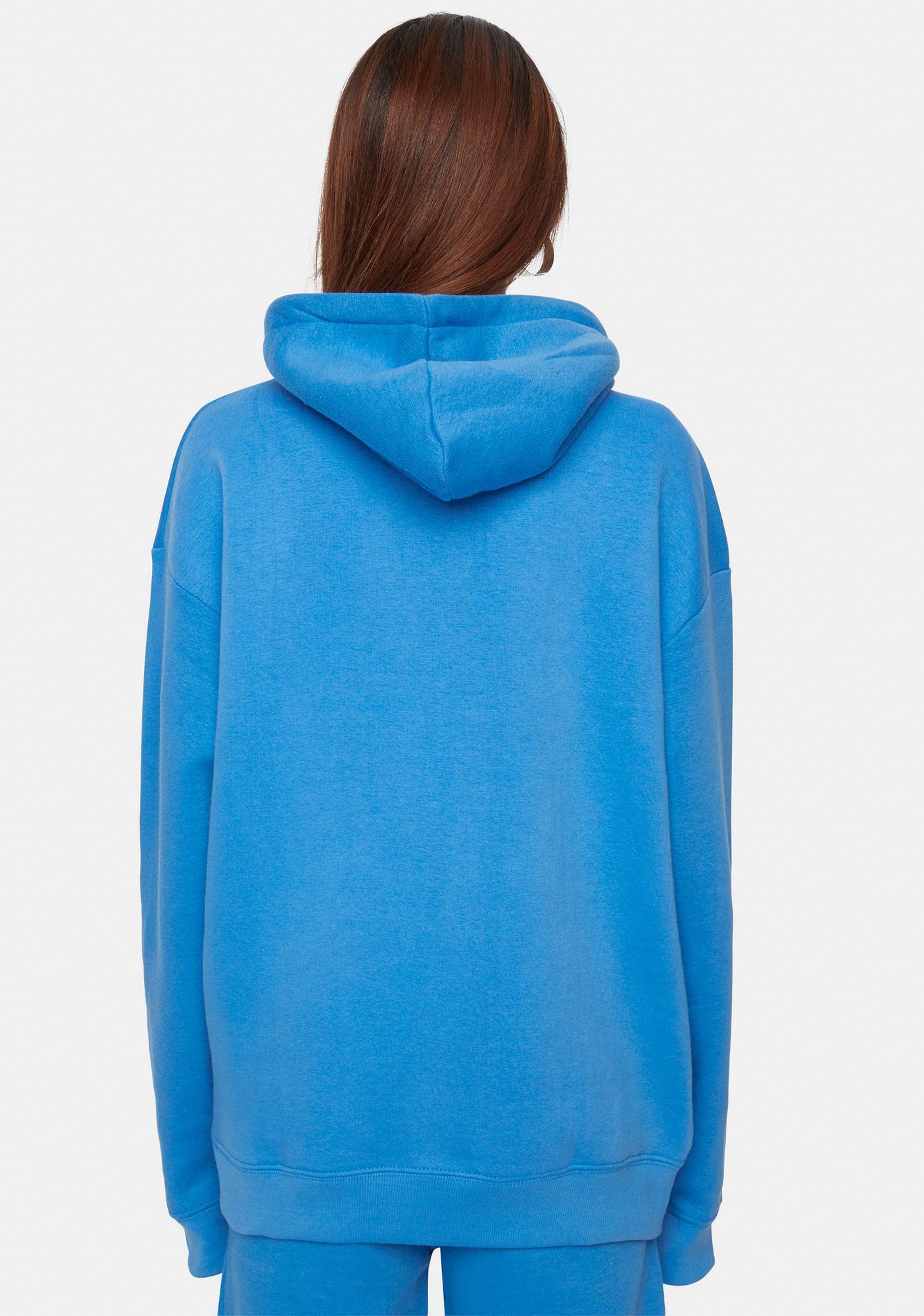 Criminal Damage Blue Hoodie With Rhinestone Embellishment
