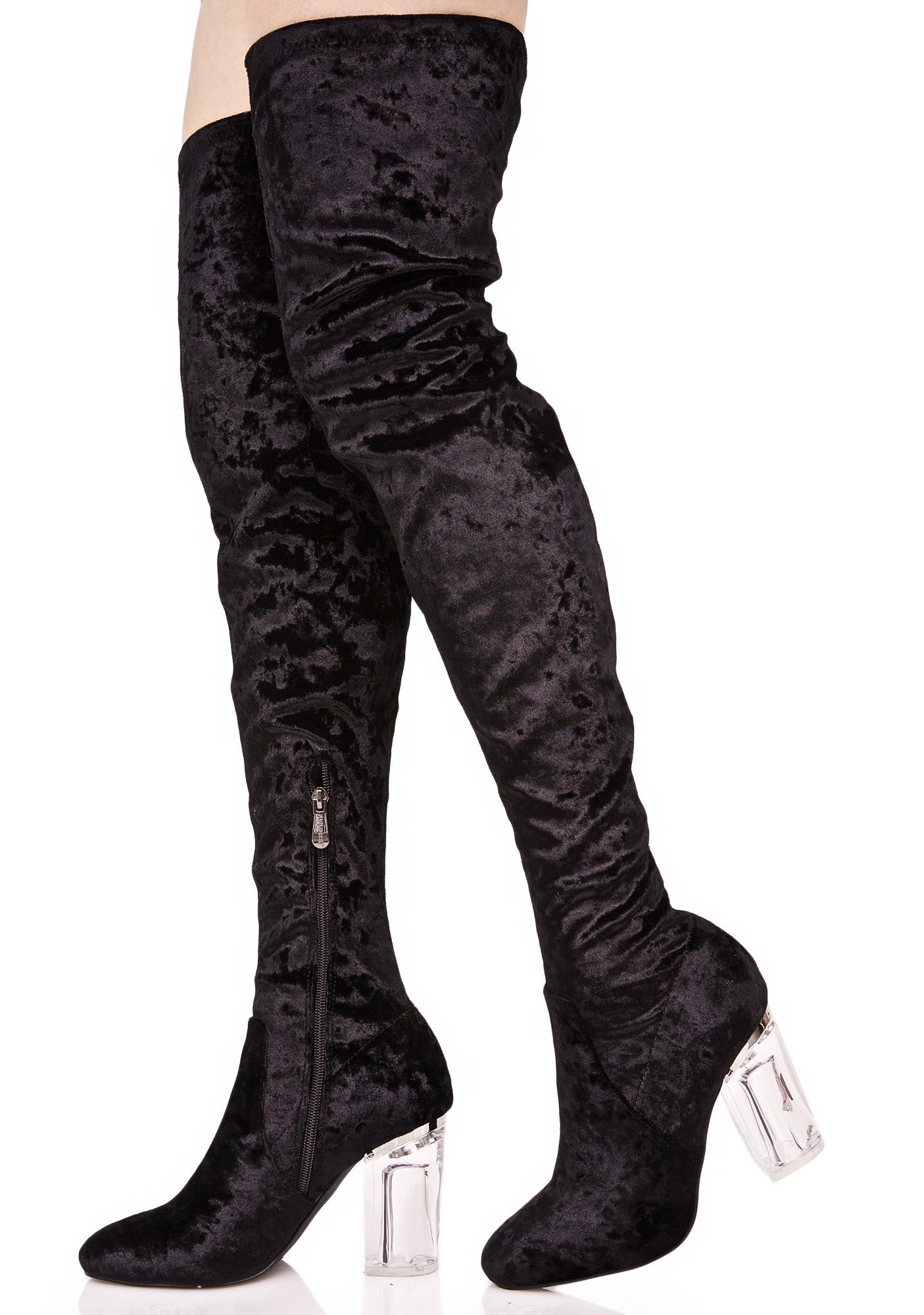 Black Velvet Lucite Thigh High Boots