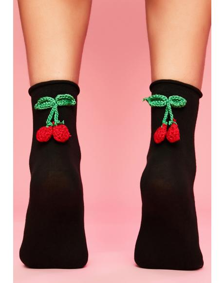 Cherry Bite Ankle Socks